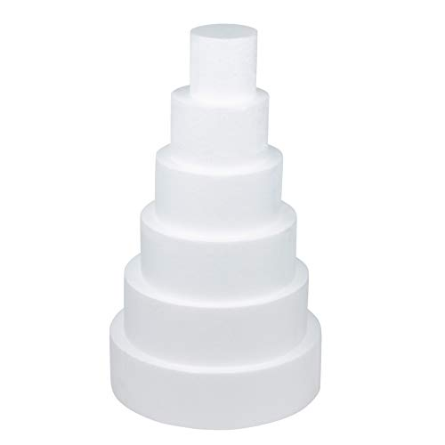 Round Cake Dummy - 6-Piece Polystyrene Foam Cake Dummy for Display Windows, Decorating Competitions, Total 23.25 Inches Tall