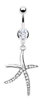 Cz clear Pave Gemmed Starfish Star fish dangle Belly button navel Ring banana piercing bar body jewelry - Gemmed Star