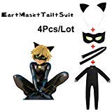 JOYEAR Kid's Costume Ladybug Cat Noir Boy or Girl Cosplay Clothing Black Cat Noir Jumpsuit Halloween Party Masquerade S (37-41inch), Without Wig -