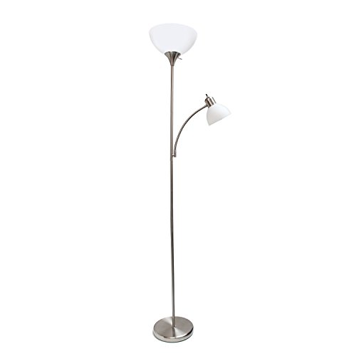 Design Torchiere - Simple Designs Home LF2000-BSN Simple Designs Brushed Nickel Floor Lamp with Reading Light,