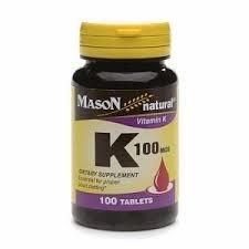 Mason Natural Vitamin K, 100mcg, Tablets, 100 ea
