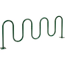 94 L Wave Bike Rack, Green, Flange Mount, 9-Bike Capacity