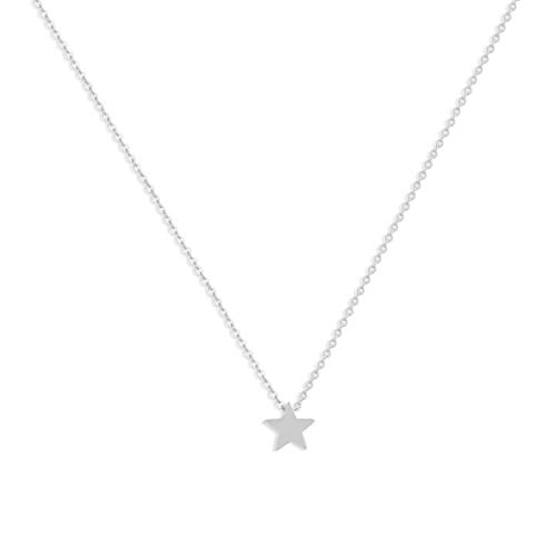 LOYATA Lucky Star Pendant Necklace, Sterling Silver Plated Dainty Delicate Charm Star Pendant Necklaces Jewelry for Women Girls (Silver Star) (Necklace Pendant Silver)