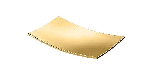 BoxMetal Freestanding Rectangular Soap Dish Holder Tray Soap Holder, Brass (Polished Gold)