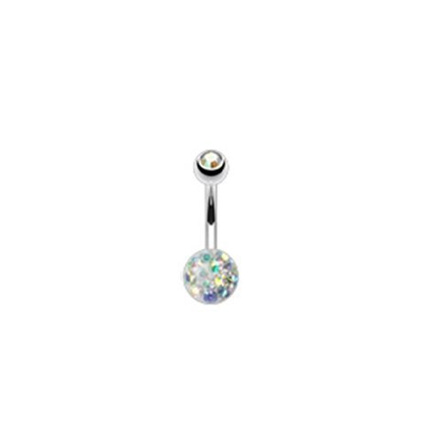 Coolbodyart piercing de nombril'austrian crystal avec double boule-arc-en-ciel