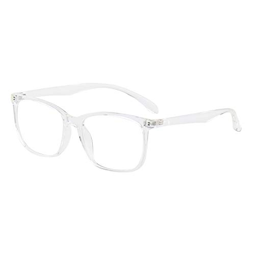 ANRRI Computer Glasses for Blue Light Blocking, Anti Eyestrain Anti Glare Lightweight Frame for Screen Eyeglasses, Transparent, Men/Women