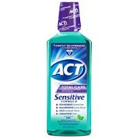 Act Total Care Sensitive Formula Anticavity Fluoride Mouthwash, Mild Mint - 18 Oz, Pack of 5 by ACT