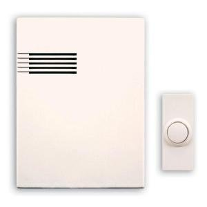 Heath Zenith Wireless Battery Operated Door Chime Kit With 64 Selectable Music Tunes And White Cover