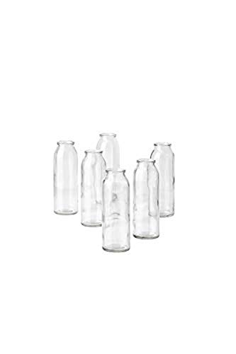 Serene Spaces Living Set of 6 Clear Glass Bud Vases, Ideal for Tablescape at Weddings, Events, Parties, Floral Centerpieces, Measures 6.25 Tall and 2 Diameter