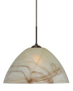 Besa Lighting 1KX-420183-LED-SN 1X6W GU24 Tessa LED Pendant with Mocha Glass, Satin Nickel Finish