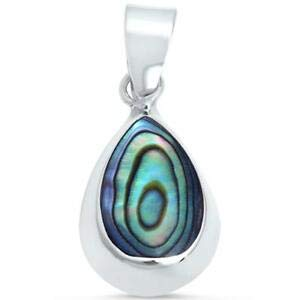 Pear Drop Pendant - Abalone Shell Pear Shape Tear Drop 925 Sterling Silver Pendant - Jewelry Accessories Key Chain Bracelet Necklace Pendants