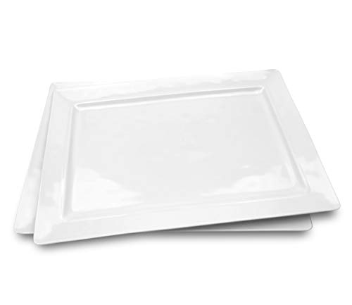 Melamine Serving Tray - 2 Piece 15.875' x 10.875' 100% Melamine Rectangular Platter,White Color | Shatter-Proof and Chip-Resistant Dishwasher Safe and BPA free