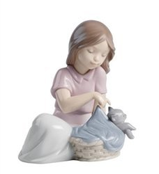 """Nao by Lladro Collectible Porcelain Figurine: SLEEP LITTLE CAT - 4 1/2"""" tall - young girl with kitty cat..."""