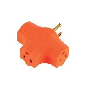 3-grounded Outlet T-shaped Adapter, - Outlet Orange