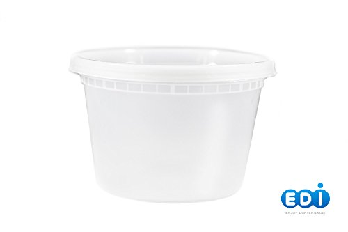 EDI Plastic Food Storage Plastic Containers with Lids Set, Pack of 25 Deli Containers (25, 16 OZ)