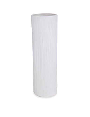 Dahlia Modern Design Wood Grain Texture White Matte Ceramic Flower Vase, 10 Inches, Cylinder ()