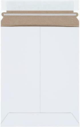 7 x 9 Inch, Stay Flat Mailers, Self-Seal, White, Strong Chipboard, Protect Photos & Documents (Pack of 100)