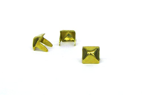 Pyramid Studs - Size 6 - Ideally used for Denim and Leather Work - Classic Two-Prong Studs - Brass Colored - Pack of 100 studs and spikes ()