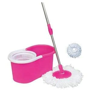 Khushi Mop Floor Cleaner with Spin Bucket Mop Set Offer for Best 360 Degree Easy Magic Cleaning, WITH 2 Microfiber (Pink…