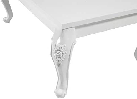 Reboz 80 x 80 x 50 cm design barocco Tavolino da salotto colore: Bianco lucido