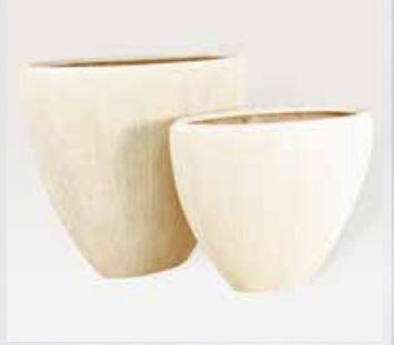 Blumenübertopf Polystone Oval aus gemahlenen Stein und Kunststoff, nur für den Innenbereich geeignet. Farbe Natur, 52x24x40cm