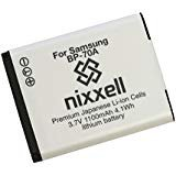 Nixxell Battery for Samsung BP70A, EA-BP70A and Samsung AQ100, DV150F, ES65, ES67, ES70, ES71, ES73, ES74, ES75, ES80, MV800, PL20, PL80, PL90, PL100, PL101, PL120, PL170, PL200, PL201, SL50, SL600, SL605, SL630, ST30, ST60, ST61, ST65, ST66, ST67, ST70, ST71, ST72, ST76, ST80, ST90, ST93, ST95, ST100, ST150F, ST700, ST6500, TL105, TL110, TL205, WB30F, WB35F, WB50F, WP10 (Fully Decoded)