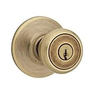 Kwikset 94002-088 Perilla de entrada con llave Tylo en latón antiguo