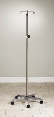 MediChoice IV Pole, Rolling, 2 Hook - 5 Leg, Chrome Plated, 45 lbs Load Capacity, 1314IVCR1010 (1 Each) ()