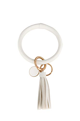 Coolcos Wristlet Keychain Bracelet Bangle Keyring - Large Circle Key Ring Leather Tassel Bracelet Key Chain Holder For Women Girl (White)