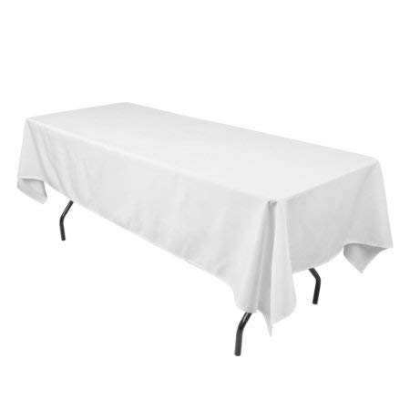 LinenTablecloth 60 x 102-Inch Rectangular Polyester Tablecloth White (White, 10)