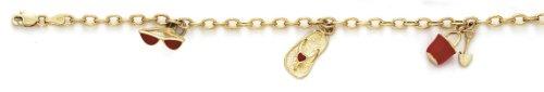 Émail 14 carats 3 Charms-Charm Bracelet-JewelryWeb - 18,4 cm