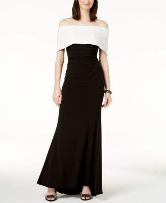 a6b09d53709 Image Unavailable. Image not available for. Color  VINCE CAMUTO  188 Womens  New 1063 Black Color Block Off Shoulder Gown ...