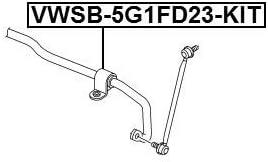 Febest Vwsb 5g1fd23 Kit Gummilager FÜr Vorderstabilisator Reparatursatz D23 2 Oem 5q0411303m Auto