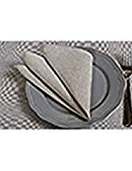 Linen Napkins Set of 4 - Natural Gray - Linen/Cotton Blend Cloth - Table Napkins in Bulk - No Dyes (6x6 inches)