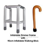 Inflatable Zimmer Frame and Walking Stick Set. Great Fun!