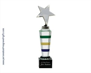 ANEDesigns Customized Multi Colored Crystal Star Tower Award ()