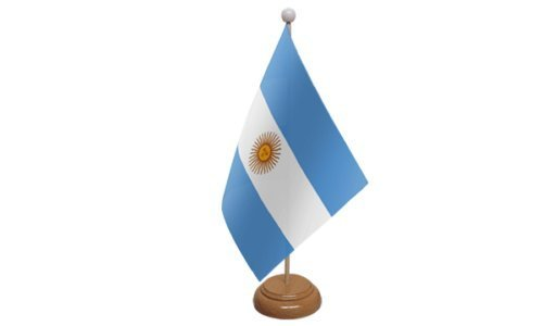 Piccola Bandiera dell'Argentina da Scrivania, con Supporto in Legno e Spilla da 59 m emblems gifts