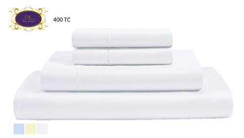 (400 Thread Count 100% Premium Cotton sheets, Fits Mattress Up to 15'' Deep Pocket, Sateen Weave, Optical White, Queen Size, 4-Pieces Set, Marrow Hem, Breathable, Hotel Luxury, Extra Soft Bed Linen set)