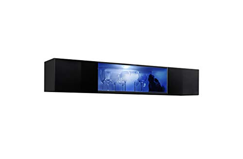 MEBLE FURNITURE & RUGS Fly Modular Wall Mounted Floating Hanging Media Cabinet (Type-52) (Black) ()