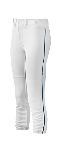 Mizuno Women's Select Belted Piped Pant (White/Navy, (Select Piped Pant)