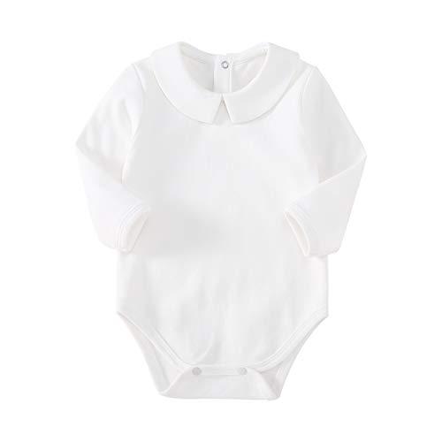 pureborn Newborn Baby Boy Girl Christening Long Sleeve Cotton Bodysuit Solid Onesies White 0-3 Months