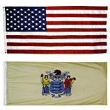 CollinsFlags US Flag with New Jersey State Flag 5' X 8' - 100% American Made - Nylon