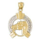 CleverEve 14K Yellow Gold Pendant Two Tone Horse Shoe And Horse 3.8 Grams