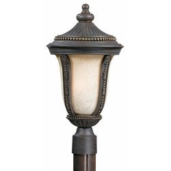 (Triarch International 75375-11 Ambassador Collection 3-Light Exterior Post Mount, Weathered Bronze and Gold Highlights with Cognac Tinted Glass)