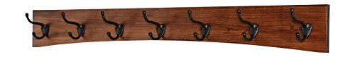 """PegandRail Solid Cherry Arched Wall Mounted Coat Rack Bronze Hat & Coat Hooks - Made in The USA (Mahogany, 36"""" x 4.5"""" with 7 Hooks)"""
