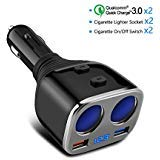 Smart Car Charge, Opluz 80W 2-Socket Cigarette Lighter Car Adapter with On/Off Switch&Voltmeter+QC 3.0 Fast Charge USB...