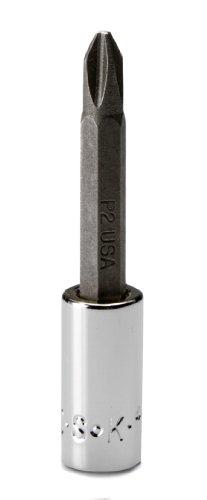 SK Hand Tool 44483 Number-2 Phillips 1/4-Inch Drive Bit Socket, Screwdriver, 2-Inch, Chrome, 2 Phillips Screwdriver Bit Socket
