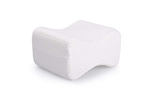 Ostad Memory Foam Knee Pillow | Small Orthopedic Sleep Aid with Washable Cover for Back Support, Post Pregnancy, Side Sleep, Back Pain | Sciatica Pain Relief Pillow | Small - Medium ()