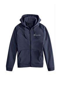 Genuine Mercedes Benz Men's Full Zip Fleece Hoodie Sweatshirt - Navy Blue - Size Large