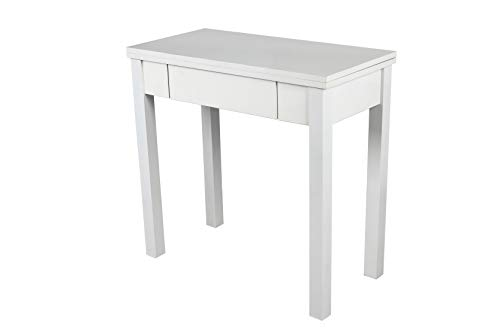 Noorsk Design Mesa Libro Extensible de Cocina en Blanco 80x40/80 cm Modelo Ronda (Blanco)